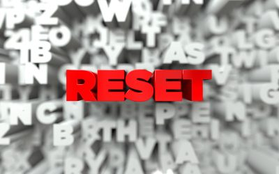 RESET -  Red text on typography background - 3D rendered royalty free stock image. This image can be used for an online website banner ad or a print postcard.