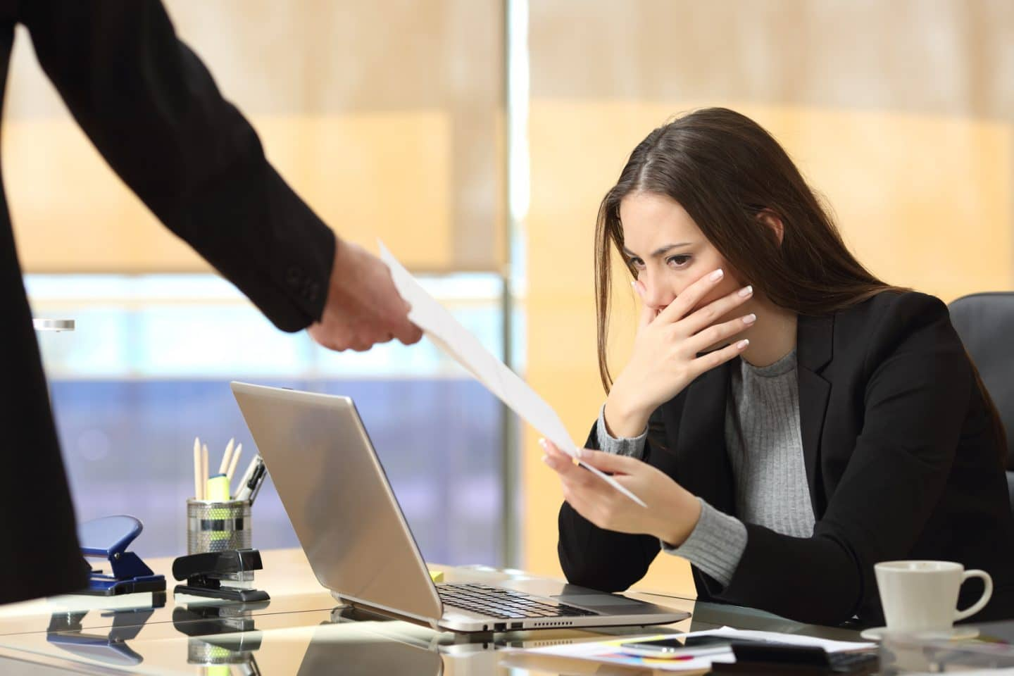 Woman being fired