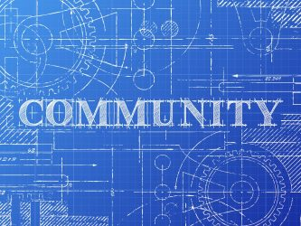 Community sign technical drawing on blueprint background