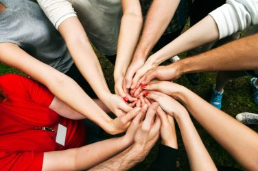 diverse people on Team building showing unity