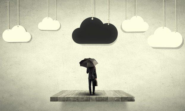 Man umbrella illustrating lack of employee engagement