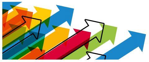 Upward arrows indicating IT spending growth